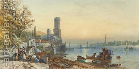 Figures on the banks of the Rhine at Cologne by James Burrell Smith - Reproduction Oil Painting