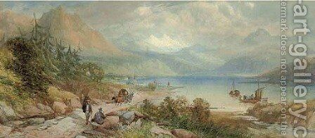 Peasants conversing on the edge of Lake Como by James Burrell Smith - Reproduction Oil Painting