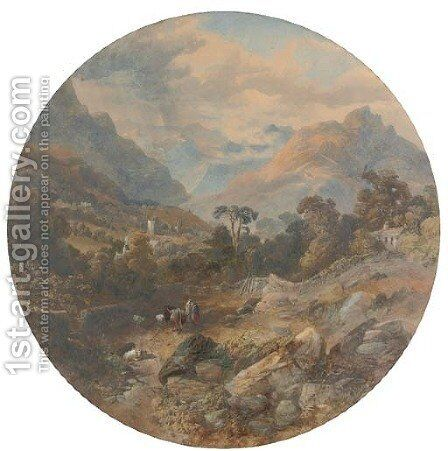 The village of Grasmere by James Burrell Smith - Reproduction Oil Painting