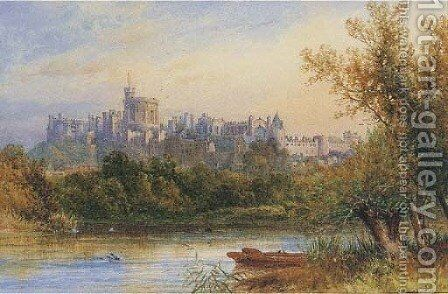View of Windsor Castle from across the Thames by James Burrell Smith - Reproduction Oil Painting