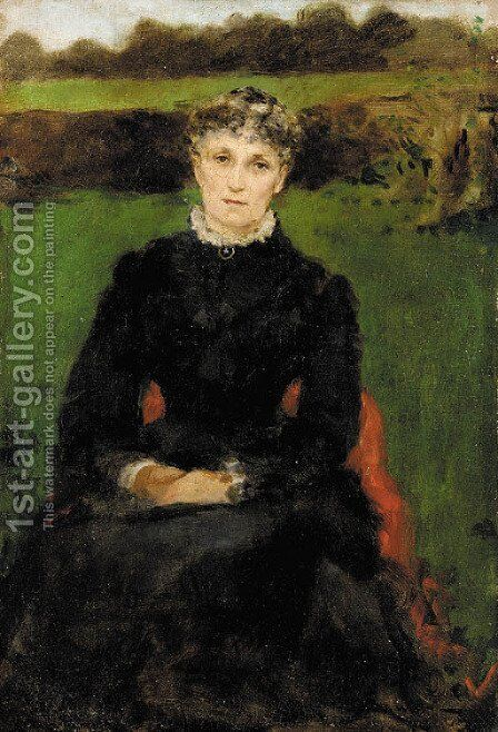 Portrait of the Artist's Mother by James Carroll Beckwith - Reproduction Oil Painting