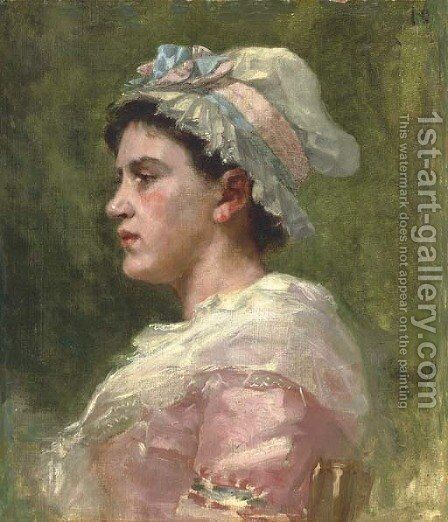 Portrait of a Woman by James Carroll Beckwith - Reproduction Oil Painting