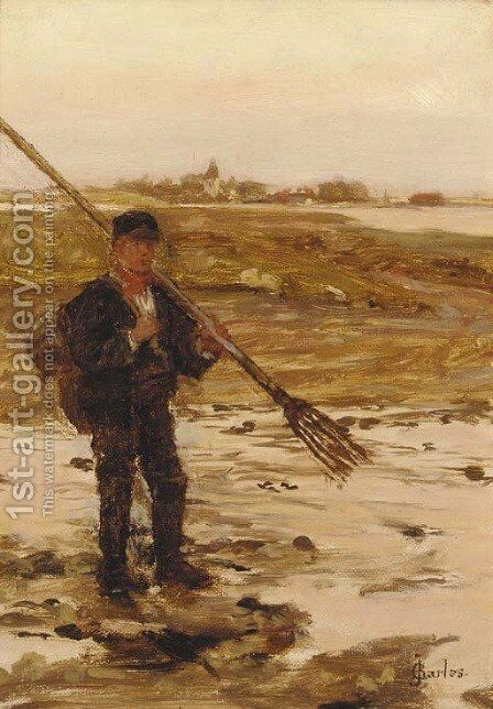 A fisherman on the shore with a town beyond by James Charles - Reproduction Oil Painting