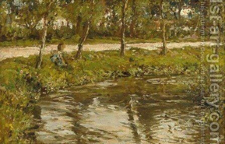 A stream by the roadside by James Charles - Reproduction Oil Painting