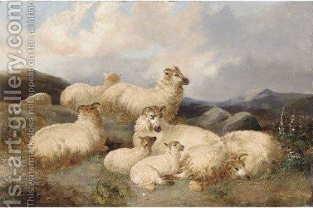 Sheep in a moorland landscape by James Charles Morris - Reproduction Oil Painting