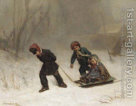 Returning from the wood in winter by James Crawford Thom - Reproduction Oil Painting