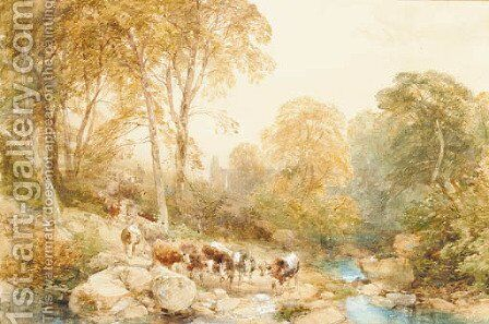 Bolton Abbey and woods by James Duffield Harding - Reproduction Oil Painting