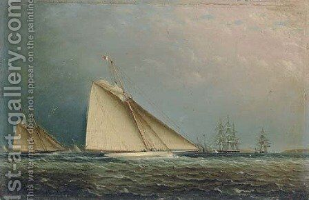 'Puritan' Racing Off of Staten Island by James E. Buttersworth - Reproduction Oil Painting