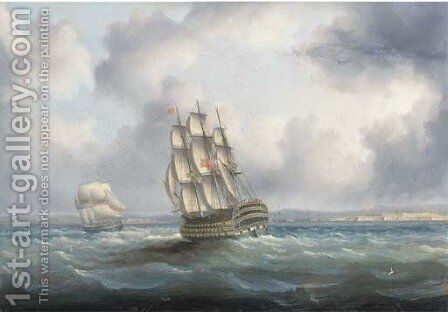 A British First Rate in the Atlantic with Cadiz off to starboard by James E. Buttersworth - Reproduction Oil Painting