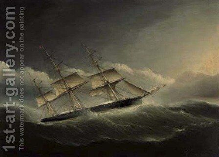 An American clipper ship battling through a hurricane under reduced sail by James E. Buttersworth - Reproduction Oil Painting