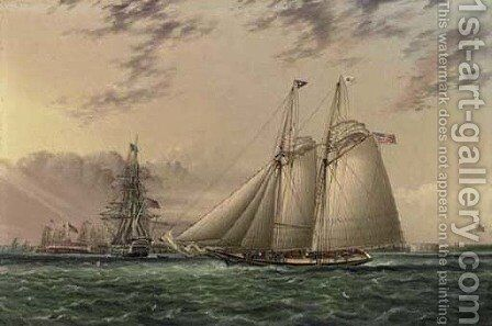 Mr. William Astor's schooner 'Ambassadress' in New York Harbor by James E. Buttersworth - Reproduction Oil Painting