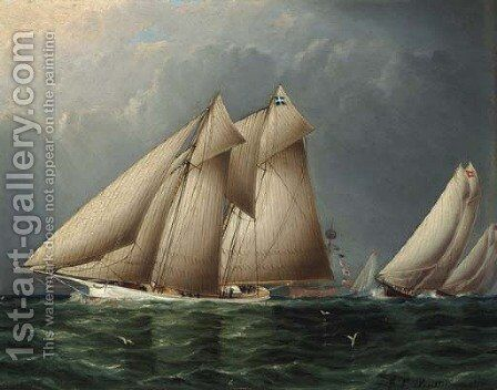 The Schooner Yacht Fenella Rounding Sandy Hook Lightship with Estelle Following by James E. Buttersworth - Reproduction Oil Painting