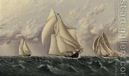 Yachts Racing by James E. Buttersworth - Reproduction Oil Painting
