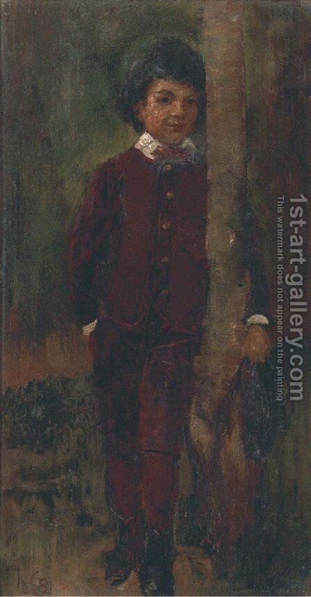 A boy leaning on a tree by James Elder Christie - Reproduction Oil Painting