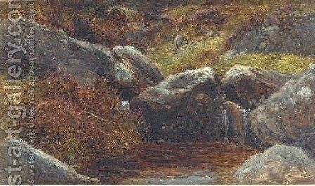 Rocks and heather by James Jnr Faed - Reproduction Oil Painting