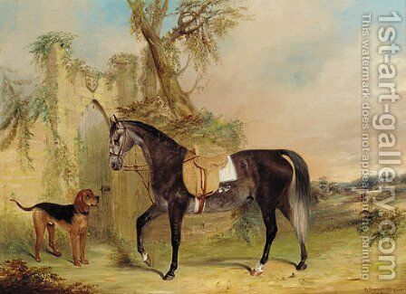 A saddled grey hunter with a dog before a gothic gateway by James Edward Freeman - Reproduction Oil Painting