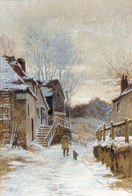 A shepherd and sheep on a country lane in a winter landscape by James George Bingley - Reproduction Oil Painting