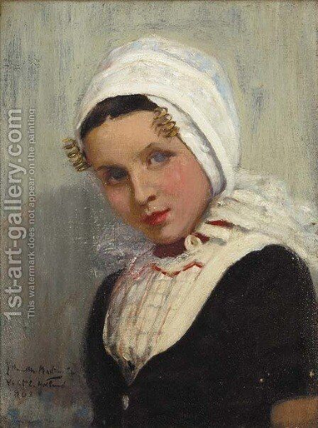 A Dutch girl in national costume by James Hamilton Mackenzie - Reproduction Oil Painting