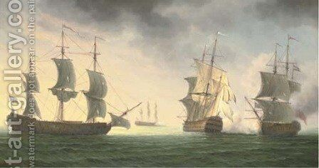 A naval battle by James Hardy Jnr - Reproduction Oil Painting