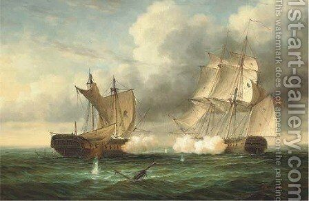 A naval engagement 2 by James Hardy Jnr - Reproduction Oil Painting