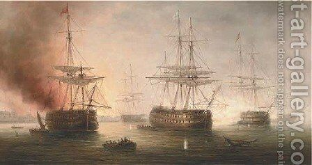 Naval engagement in a Mediterranean harbour by James Hardy Jnr - Reproduction Oil Painting