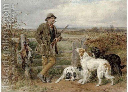 A rest by the stile by James Hardy Jnr - Reproduction Oil Painting