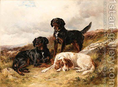 Three Setters in a Landscape by James Hardy Jnr - Reproduction Oil Painting