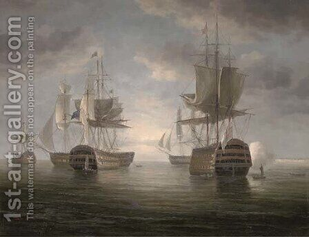 A flagship announcing her arrival at the anchorage by James Hardy Jnr - Reproduction Oil Painting