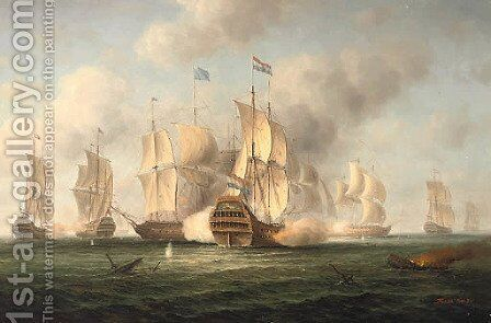 An Anglo-Dutch engagement by James Hardy Jnr - Reproduction Oil Painting