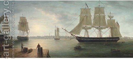 Merchant shipping in Boston Harbour at nightfall by James Hardy Jnr - Reproduction Oil Painting