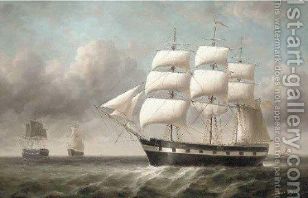 Merchantmen at sea by James Hardy Jnr - Reproduction Oil Painting