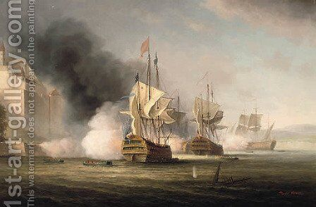 The Bombardment and Capture of Porto Bello, 1739 by James Hardy Jnr - Reproduction Oil Painting