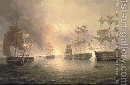 The burning of Toulon by James Hardy Jnr - Reproduction Oil Painting