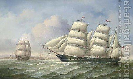 Shipping vessels by moonlight by James Hardy Jnr - Reproduction Oil Painting