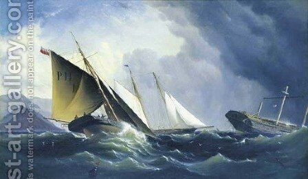 Shipwreck off a steep coast by H. Forrest - Reproduction Oil Painting