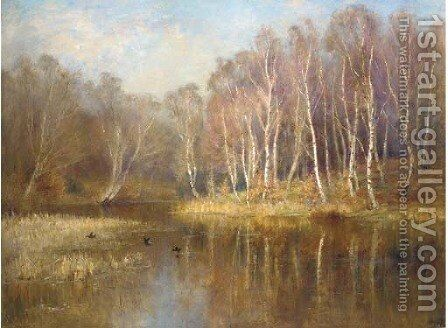 The mirror of the woods by James Herbert Snell - Reproduction Oil Painting