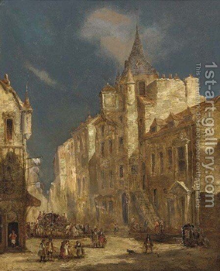 The Royal Mile, Edinburgh by James Holland - Reproduction Oil Painting