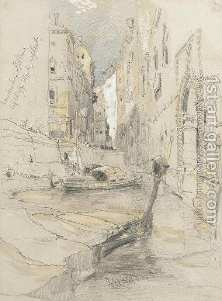 A Venetian canal with two barges by James Holland - Reproduction Oil Painting