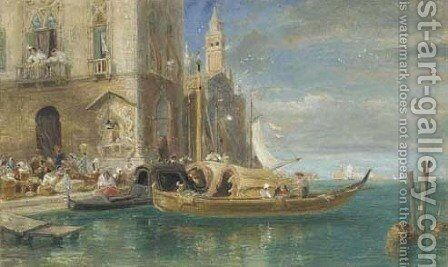 Venice, with Santa Maria della Salute in the distance by James Holland - Reproduction Oil Painting