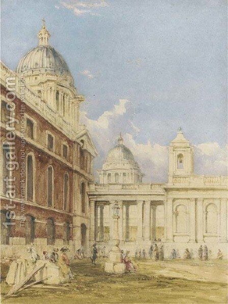 View of Greenwich Hospital by James Holland - Reproduction Oil Painting