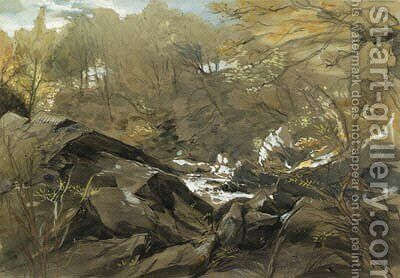 A wooded Valley, North Wales by James Holland - Reproduction Oil Painting