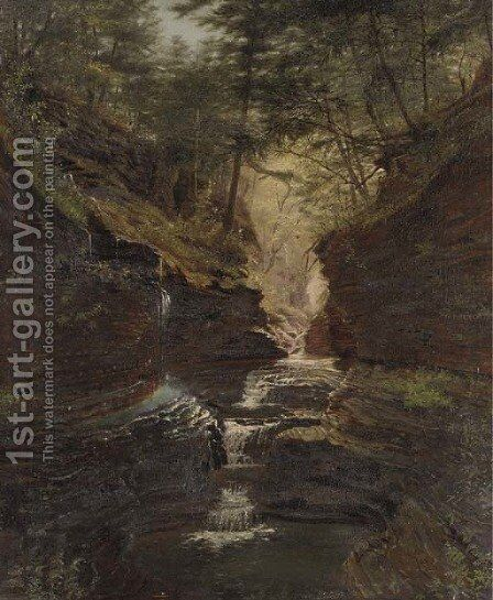 Study of Rainbow Falls, Watkins Glen by James Hope - Reproduction Oil Painting