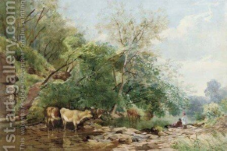 Cattle watering in a copse by James Jackson Curnock - Reproduction Oil Painting