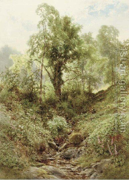 The brook by James Jackson Curnock - Reproduction Oil Painting