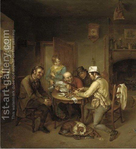 Reading the local news by James Leakey - Reproduction Oil Painting