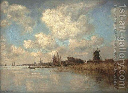 River landscape with windmills in the distance by James Levin Henry - Reproduction Oil Painting