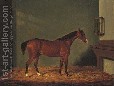 A Bay Hunter in a Stable by James Loder - Reproduction Oil Painting