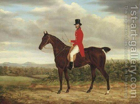 A Gentleman on his Bay Hunter in a landscape by James Loder - Reproduction Oil Painting