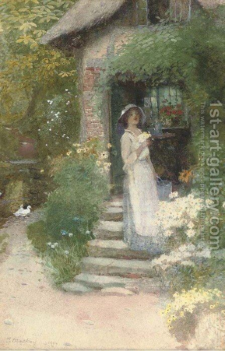 Picking flowers by the mill by James Mackay - Reproduction Oil Painting