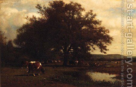 Cattle grazing before a Pond by James McDougal Hart - Reproduction Oil Painting